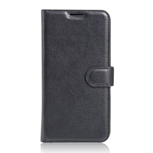 Litchi Skin Leather Wallet Case for Alcatel OneTouch Pop 4S - Black