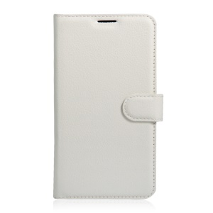 Litchi Skin Leather Wallet Cover for Alcatel OneTouch Pop 4S - White