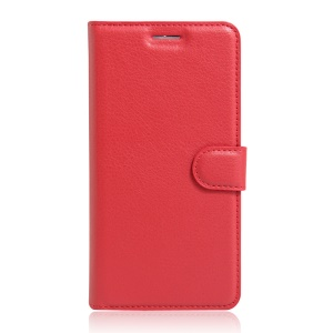Litchi Skin Leather Card Holder Case for Alcatel OneTouch Pop 4+ - Red