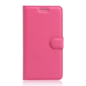 Litchi Skin Leather Stand Case with Card Slots for Alcatel OneTouch Pop 4+ - Rose