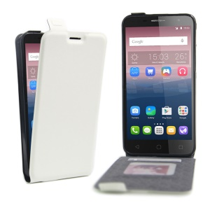 Vertical Flip Leather Photo Slot Cover for Alcatel OneTouch Pop 4+ - White
