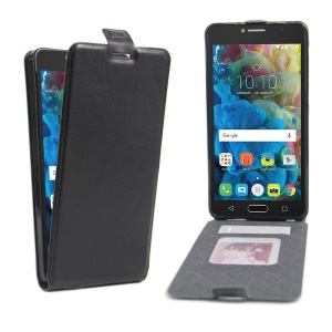 Crazy Horse Vertical Leather Case with Photo Slot for Alcatel OneTouch Pop 4S - Black