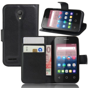 Litchi Grain Wallet Leather Case for Alcatel OneTouch Pixi 4 (3.5) - Black
