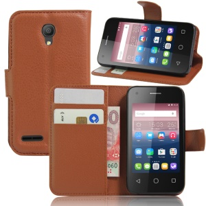 Litchi Grain Wallet Leather Stand Case for Alcatel OneTouch Pixi 4 (3.5) - Brown