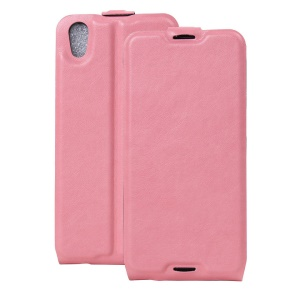 Crazy Horse Vertical Flip Leather Cover for Alcatel OneTouch Idol 4 with Card Slot - Pink
