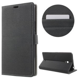 Cloth Skin Leather Wallet Phone Case for Alcatel Pixi 4 (6) 3G Version - Grey