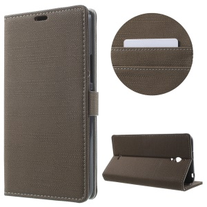 Cloth Skin Leather Wallet Stand Shell for Alcatel Pixi 4 (6) 3G Version - Coffee