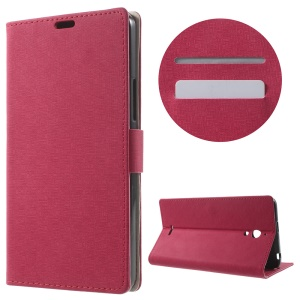 Maze Grain Wallet Leather Cover for Alcatel Pixi 4 (6) 3G Version with Stand - Rose