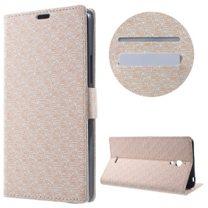 Maze Grain Wallet Leather Case for Alcatel Pixi 4 (6) 3G Version with Stand - Beige