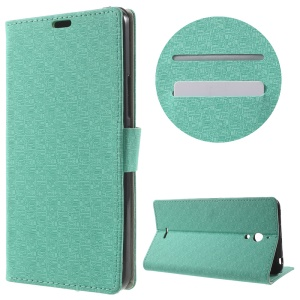 Maze Grain Wallet Leather Shell for Alcatel Pixi 4 (6) 3G Version with Stand - Cyan