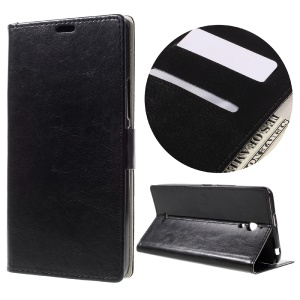 Crazy Horse Wallet Stand Leather Case for Alcatel Pixi 4 (6) 3G Version - Black