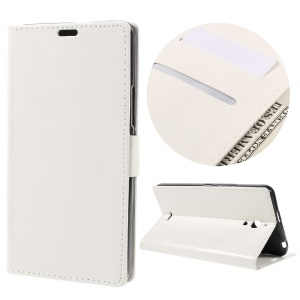 Crazy Horse Wallet Stand Leather Cover for Alcatel Pixi 4 (6) 3G Version - White