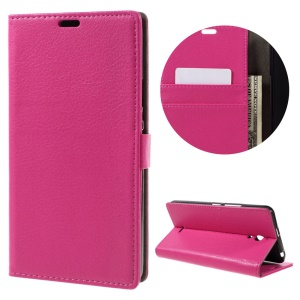 Litchi Texture Wallet Stand Leather Phone Case for Alcatel Pixi 4 (6) 3G Version - Rose