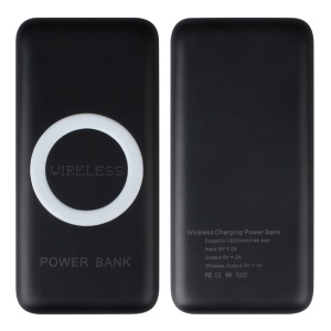 WP200 Portable Qi Wireless Charger 12000mAh USB Power Bank for Samsung iPhone (CE/FCC/RoHS) - White / Black