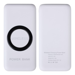 WP200 Portable Qi Wireless Charger 12000mAh USB Power Bank for Samsung iPhone (CE/FCC/RoHS) - Black / White