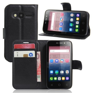 Litchi Leather Wallet Case for Alcatel OneTouch Pixi 4 (4) - Black