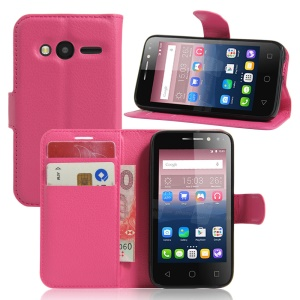 Litchi Leather Stand Case for Alcatel OneTouch Pixi 4 (4) - Rose