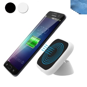 Qi Standard Wireless Charger Car Dashboard Holder for iPhone 8/8 Plus/Samsung Galaxy S7 edge / S7 - White