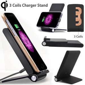 3 Coils Foldable Qi Wireless Charger Dock for iPhone 8/8 Plus/Samsung Galaxy Note7/ S7/S7 Edge Etc - Black