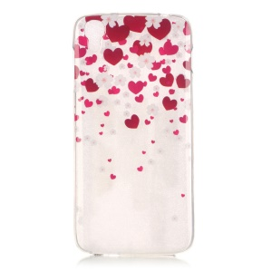 IMD TPU Clear Cover for Alcatel OneTouch Idol 3 (4.7) - Red Hearts