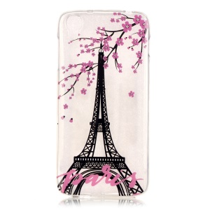 IMD TPU Shell Cover for Alcatel OneTouch Idol 3 (4.7) - Eiffel Tower and Wintersweet Flower