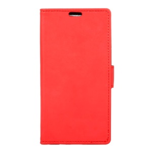 Wallet PU Leather Stand Shell for Alcatel X1 7053D - Red