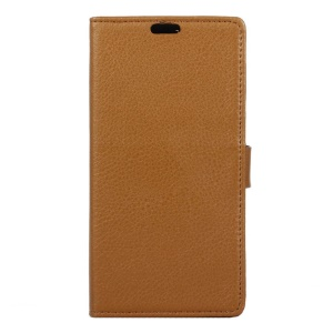 Litchi Grain Wallet Leather Stand Cover for Alcatel X1 7053D - Brown