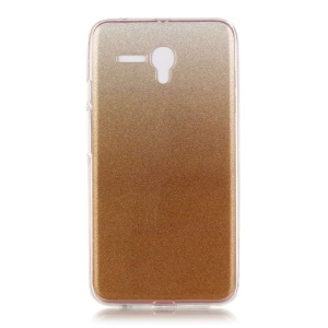 Gradient Color Flash Powder IMD Gel TPU Cover for Alcatel OneTouch Pop 3 (5.5) 3G - Gold