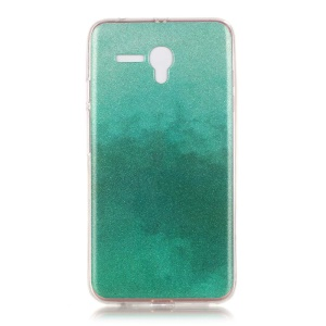 IMD Gradient Color Glitter Powder TPU Shell for Alcatel OneTouch Pop 3 (5.5) 3G - Cyan