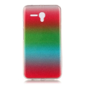 Gradient Color Glitter Powder IMD TPU Protective Case for Alcatel OneTouch Pop 3 (5.5) 3G - Red / Green