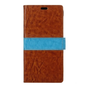 Bi-Color Leather Wallet Stand Shell for Alcatel Pixi 4 (5) 3G Version - Brown