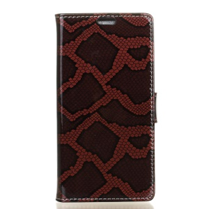 Snake Pattern Leather Wallet Stand Cover for Alcatel OneTouch Idol 4 - Red
