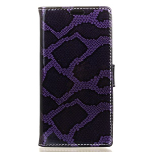 Snake Skin Stand Leather Wallet Shell for Alcatel OneTouch Pop 4 - Purple