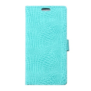 Crocodile Grain Leather Wallet Stand Shell for Alcatel Pixi 4 (5) 3G - Cyan
