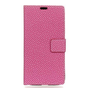 Woven Texture Leather Flip Case with Card Slots for Alcatel OneTouch Pop 4 - Rose