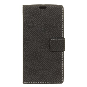 Woven Pattern Leather Wallet Stand Case for Alcatel OneTouch Pop 4S - Black