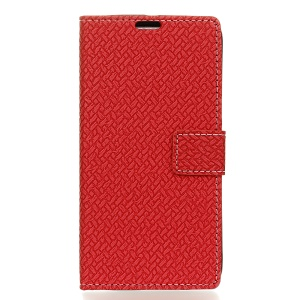 Woven Texture Wallet Leather Shell for Alcatel OneTouch Pixi 4 (4) - Red