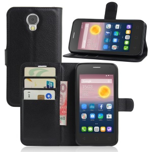 Litchi Skin Leather Wallet Case for Alcatel Pixi 4 (5) 3G Version - Black