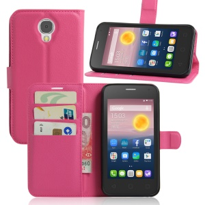 Litchi Skin Wallet Leather Stand Cover for Alcatel Pixi 4 (5) 3G Version - Rose