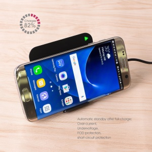 5V 2A Qi Wireless Charging Pad + Stand for Samsung S7/S7 Edge, LG G3 etc (CE/FCC) - Black