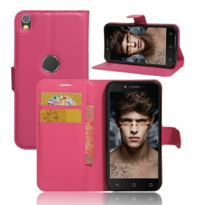 Lychee Skin Wallet Leather Magnetic Case for Alcatel Shine Lite - Rose