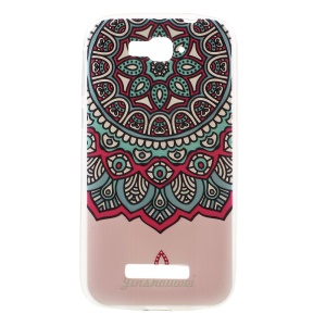 Softlyfit Embossed TPU Cell Phone Case for Alcatel One Touch Pop C7 OT-7040E 7040F 7040D - Colorized Mandala Flower