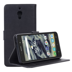 Retro Style Leather Wallet Stand Phone Case for Alcatel Pixi 4 (6) 4G - Black