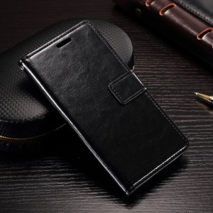 Crazy Horse Wallet Leather Stand Case for Alcatel Shine Lite - Black