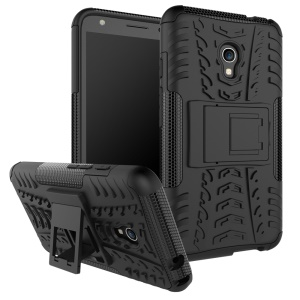 Cool Tire Pattern PC + TPU Kickstand Phone Case for Alcatel OneTouch Pixi 4 (5.0) 4G Version - Black