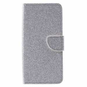 Flash Powder Wallet Stand Leather Phone Accessory Case for Alcatel X1 7053D - Silver