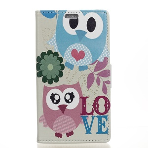 Patterned Wallet Leather Foldable Phone Shell Casing for Alcatel U5 - Two Lovely Owls