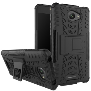 For Alcatel OneTouch Pop 4S Tyre Pattern 2-in-1 Kickstand PC + TPU Mobile Phone Case - Black