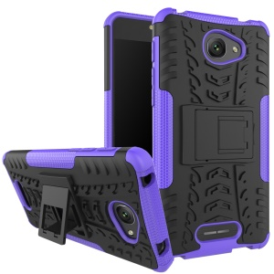 2-in-1 Tyre Pattern Kickstand PC + TPU Hybrid Cover Case for Alcatel OneTouch Pop 4S - Purple