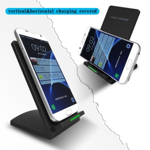 M520 9V Dual Coil Qi Wireless Charging Stand with LED Light for Samsung Galaxy S7 / S7 Edge Etc - Black